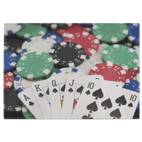 Poker Chips & Royal Flush Tempered Glass Chopping Board